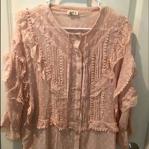 New POL Boho Lace & Ruffle Top